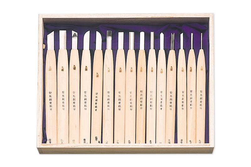 冠 特製彫刻刀15本組(ほの木割込柄)