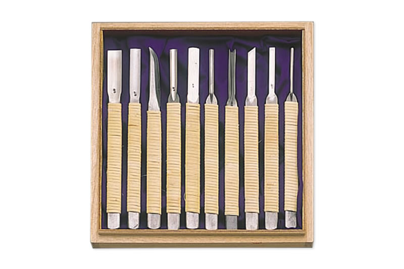 紀 籐巻共柄彫刻刀10本組